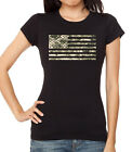 Junior's Digital Camo US Flag Black Shirt Women's Army Wife Military America Tee