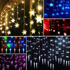 XMAS 3.5m 96LED Icicle Hanging Snowflake String Fairy Lights Party Garden Decor
