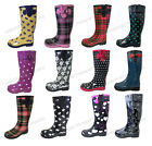 Women's Rain Boots Rubber Waterproof Colors Wellies Mid Calf