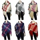 Thick Oversized Tartan Plaid Blanket Scarf Large Winter Warm Checked Wrap Shawl
