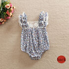 Summer Baby Girls Kids Bodysuit Floral Romper Lace Agaric Sleeve Clothes Outfits