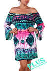 PLUS TURQUOISE PINK AZTEC OFF SHOULDER RUFFLE SLEEVE TUNIC TOP 1X 2X 3X