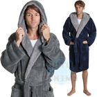 Mens Fluffy Fleece Hooded Dressing Gown Soft Thick Warm Robe Comfy Snuggle Hood