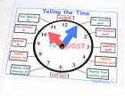 LEARN TO TELL THE TIME Clock Poster/Mat Educational Maths Teaching Resource KS1