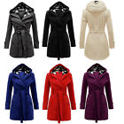 New Women\'s Warm Winter Hooded Trench Coat Wool Blends Long Jacket Outwear Tops