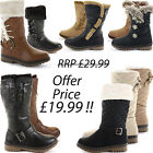 Womens Ladies Winter Fur Lined Quilted Padded Warm Heel Snow Knee Boots Size