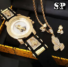 MEN HIP HOP ICED OUT GOLD PT PRAYING HANDS WATCH & NECKLACE & EARRINS COMBO SET