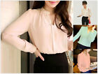 Fashion Women Ladies Summer Long Sleeve V Neck Loose Blouse Casual Shirt Tops