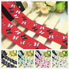 NEW DIY 1 5 10 Yard 1'' 25mm Butterfly Pattern Printed Grosgrain Ribbon Hair Bow