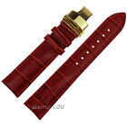 Red Crocodile Grain Leather Watch Strap Gold Push Button Deployment Clasp 12~24