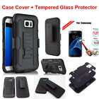 Hybrid Armor Full Cover Hard Case + Screen Film For Samsung Galaxy Cell Phones