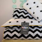 MONOCHROME  100%COTTON Cot Bed Duvet Cover Set Girls Boys Black Chevron Stars