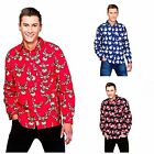 CHRISTMAS XMAS SHIRT LONG SLEEVED FANCY DRESS FESTIVE HOLIDAY MENS ADULT NOVELTY