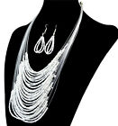 Women's Holiday Bohemia Style Multi-layer Necklace Earring Bead Jewelry Set