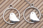 100 PCS Tibetan silver Crafts Jewelry Round Birds Cage Charms Pendants 24*22mm