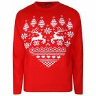New Mens Novelty Red Raindeer Heart Shaped Pullover Christmas Jumper