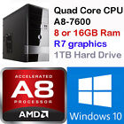 AMD Gaming Computer Desktop PC Tower Quad Core Radeon HD R7 2TB HDMI Windows 10