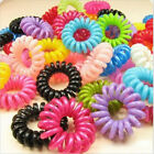 10/100 X Girl's Elastic Phone Cord Rubber Hair Ties Bands Rope Ponytail Holders