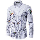 New Men's Personality Flowers and Birds 3D Printing Cotton Long - sleeved Shirt