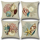 Marine Life Conch Shellfish Starfish Coral Cushion Cover Pillow Cases Home Decor