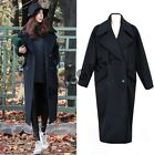 Stylish Womens Casual Thicken Cocoon Trench Coat Long Double-Breasted Outerwear