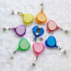 New Heart Shaped  ID Badge Holder Reel Retractable Key Clip Lot 10/50 Sale!!!