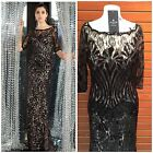NWT ALYCE 5563 OFF SHOULDER BLACK NUDE LACE SEQUINED GOWN $499 SZ 8,10,12,14,16