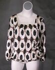 NEW Brown Black & Cream Satin Work Career Top BIG Blouse Shirt 1x 2x 14-20