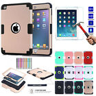 Shockproof Silicone Soft Hard Cover Case + 9H Tempered Glass For iPad mini 2 3 4