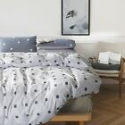 White/Gray 100% Cotton Doona Duvet Quilt Cover Set Double Queen King Size NEW