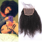 "Brazilian  Afro Kinky Curly Remy  Human Hair 4""x4"" Lace Closure Bleached Knots"