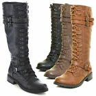 Womens-knee-high-lace-up-buckle-fashion-military-combat-boots-pu-leather-riding