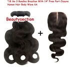 "3 Bundles Brazilian ""18 ihn With 16"" Free Part Closure Human Hair Body Wave 6A"