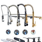 Kitchen Faucet Pivot Spout Single Hole Sink Mixer Tap Pull Down Sprayer