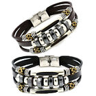 Women's Men's Hematite Stainless Steel Vintage Beads Leather Gift Bracelet