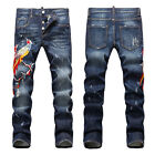 New Mens Italy Style Vintage Pants Phoenix Embroidery Slim JEANS Trousers D1453T