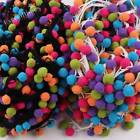 2 10yds Ball Tassel Rainbow JUMBO Pom Pom Bobble Trim Braid Fringe Ribbon Crafts