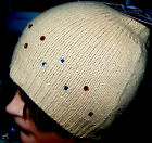 New Knit Lambswool Beanie Cap Ski Hat Fuzzy Cream Brown Gold Sequins Studs
