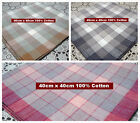 12 pieces / 6 pieces LARGE SIZE 40cm x 40cm checks 100% cotton handkerchiefs