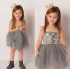 Baby Children Girl Sequins Tulle Cute Dress Clothing Silver Party Gown Dresses