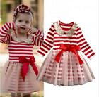 Toddler Kids Baby Girls Clothing Dresses Princess Stripe Bow Ball Gown Dress