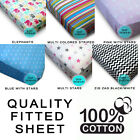 NEW LUXURY 100 COTTON PURE FITTED SHEET SINGLE QUALITY MULTI PASTERNS