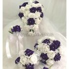Wedding flowers bride bridesmaid bouquet wand groom buttonhole white crystals