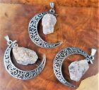 Crescent Moon Necklace Lepidolite Silver Pendant LR47 Healing Crystals Stones