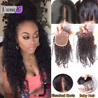 "7A Virgin Human 3.5""x4'Brazilian deep curly Lace Closure Natural Bleach knots"