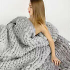 3 Size Large Warm Chunky Knit Blanket Thick Yarn Wool Bulky Knitted Throw