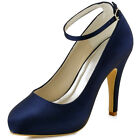 EP11049 Navy Blue Platform High Heel Ankle Strap Satin Evening Party Prom Shoes