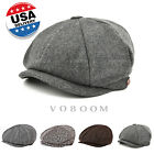 VOBOOM Fashion Mens Hat Flat 8 Panel Mens Country Baker Boy Newsboy Wool Cap