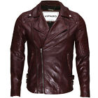 VIPARO Oxblood Red Moto Quilted Quilt Leather Biker Coat Jacket - MB3