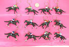 """LOT OF 6--PAINTED HORSE RIDING HARD BOOT KEYCHAIN MIXED  2 """" X3 """" -KC2727A"""